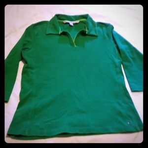 Tops - womans tommy hilfiger 3/4 sleeve shirt green large